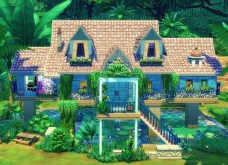 maison dans la jungle sims 4 pilotis