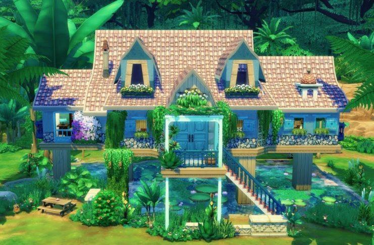 maison dans la jungle sims 4 pilotis