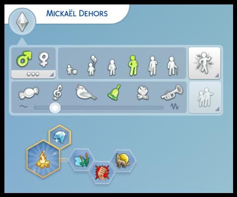 caractéristique Mickael Dehors sims