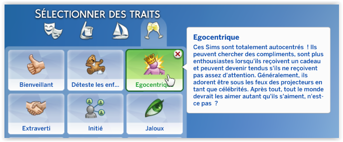 egocentrique sims 4 trait