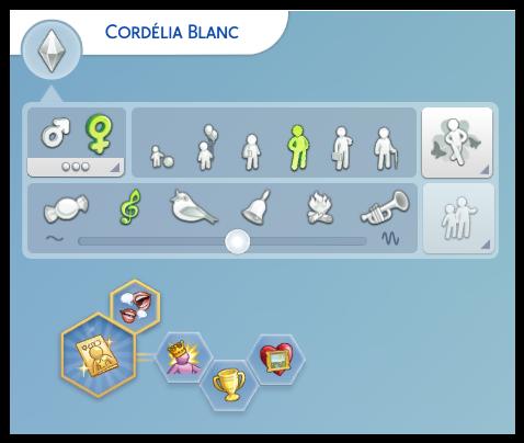 Cordélia Blanc heure de gloire sims 4
